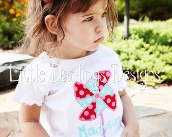 Girls Appliqued and Personalized Pinwheel Shirt