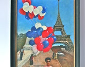 Paris oil painting: vintage original folk art