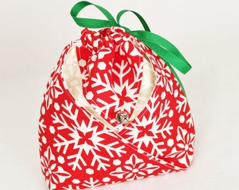 Origami Gift Bag -  Red Snowflake Joy by Kate Spain for Moda
