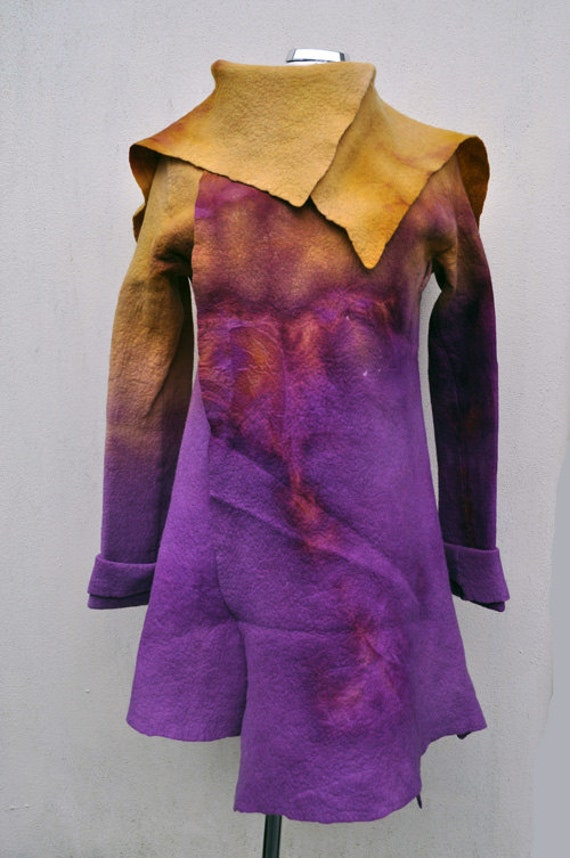 Reserved - Felted jacket - Size M - green and pink, purple - FREE flower