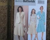 Jacket and Skirt Pattern, Uncut, Butterick 4933, Size 8 through14