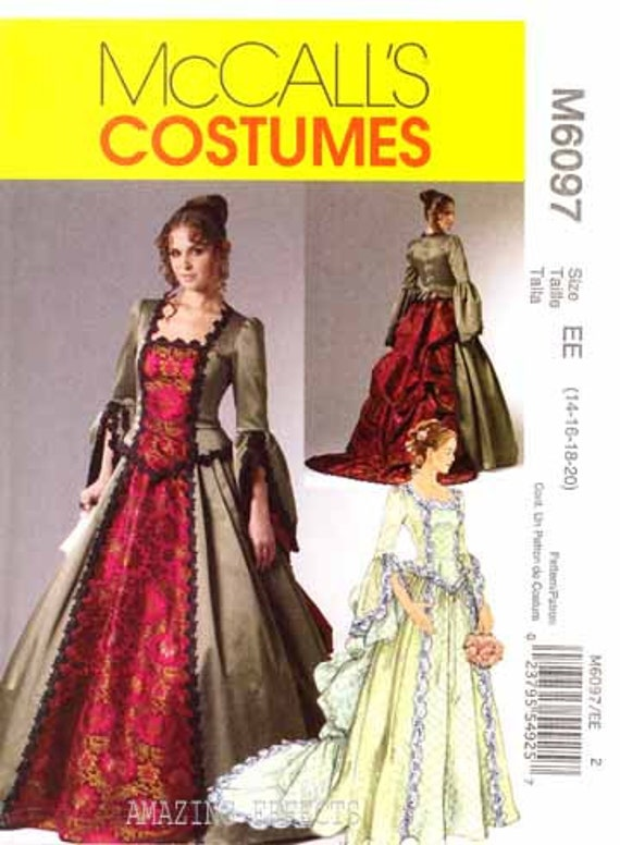 Uncut McCall's pattern M6097  Misses Steampunk fashion sewing pattern size 14-20. Victorian