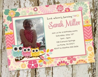 owl baby shower invitation owl first birthday birth announcement photo floral sprinkle ultrasound (item 223b) shabby chic invitations
