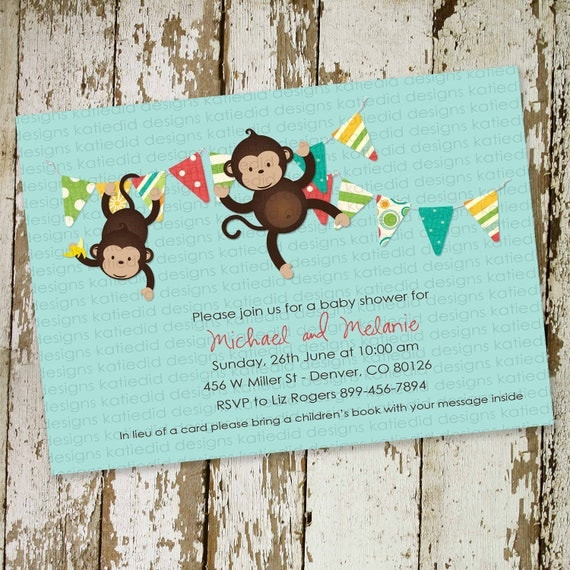 monkey baby shower invitation gender neutral gender reveal couples coed diaper sprinkle bring a book (item 1210) shabby chic invitations