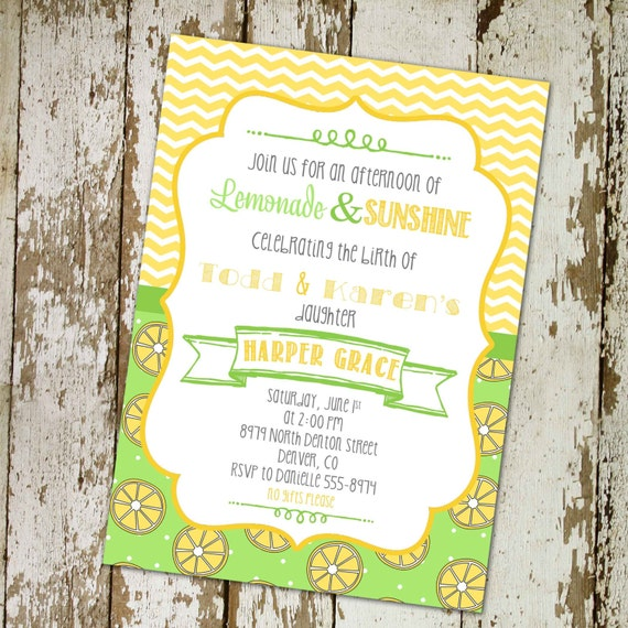 sip and see or baby girl shower invitation, lemonade and lime chevron, digital, printable file (item1354b) baby shower invite
