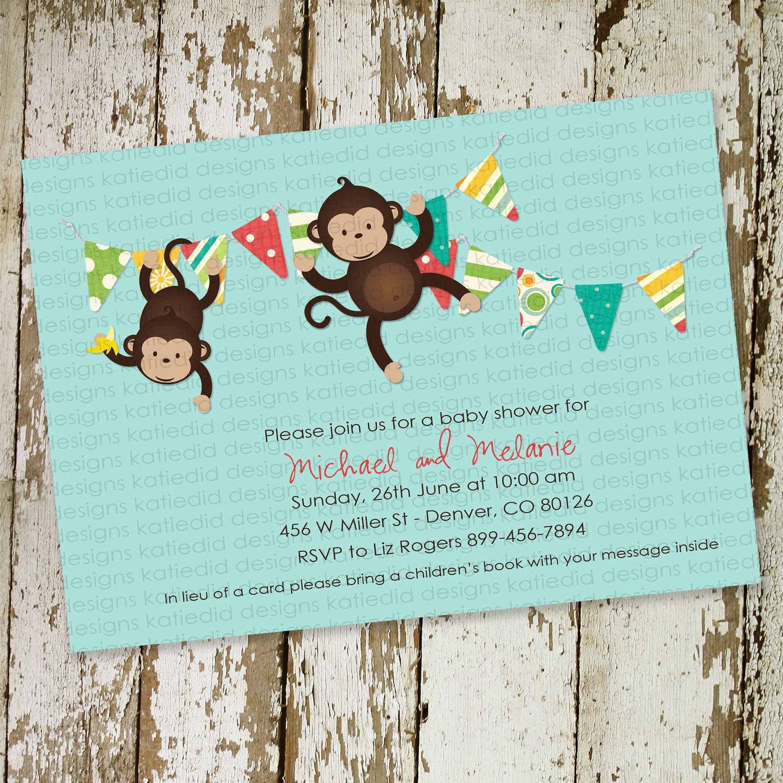 monkey baby shower invitation or birthday by katiedidesigns