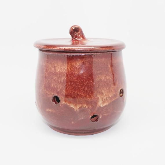 Wheel Thrown Garlic Jar in Golden Brick Red