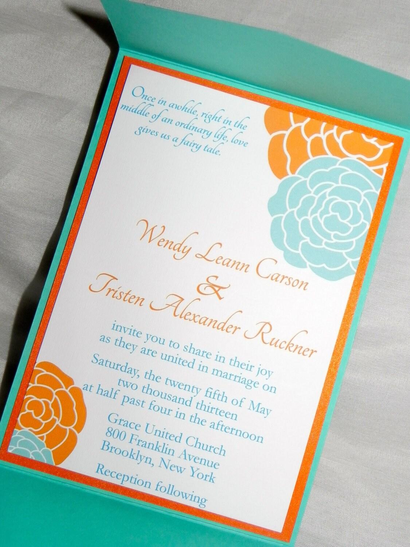 Pocket Fold Orange And Turquoise Wedding Invitation