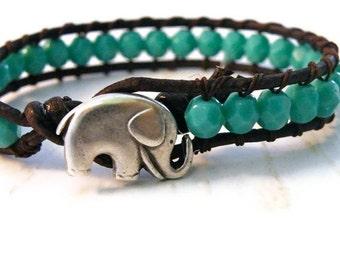 Little Elephant Turquoise Leather Wrap Bracelet with Turquoise Czech Beads/ Lucky Girl/ Elephant/ Boho Southwestern Chic