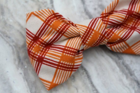 Boy's Bright Orangeand Red Plaid Bow Tie - clip on