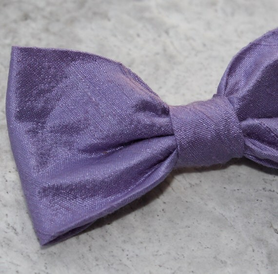 Purple Silk Bow Tie - clip on, pre-tied with strap or self tying