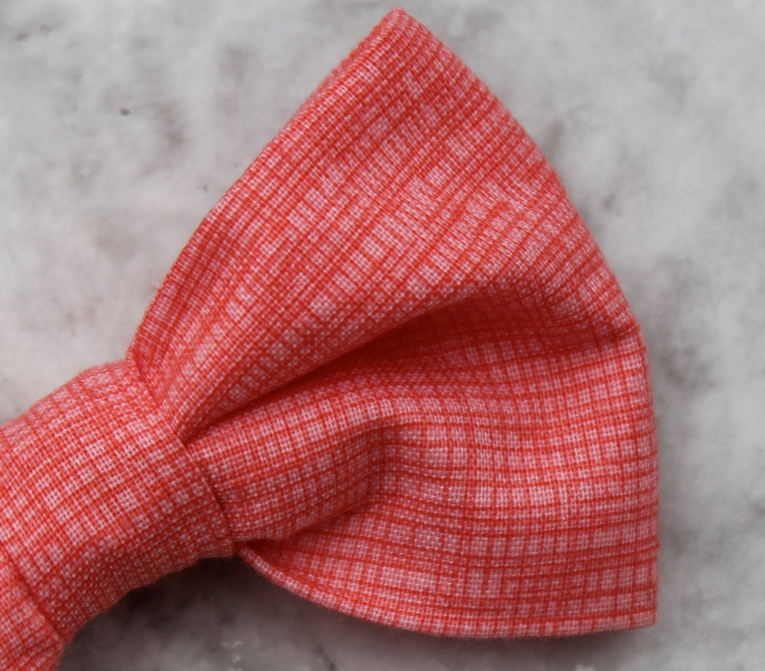 bow tie and matching suspenders in coral crosshatch clip on