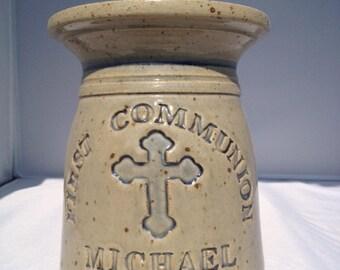 First Communion Personalized Stoneware Pot