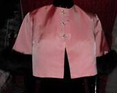 Vintage Evening Jacket Coat 1960s  Irridescent Pink With Black Fox Trim  Cropped Rhinestones  Mad Men