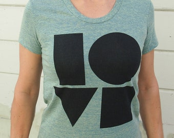 Womens love t shirt - american apparel lemon- available in S, M, L , XL WorldWide Shipping