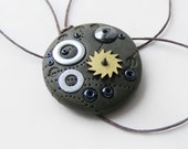 Mens steampunk necklace, polymer clay jewelry, ooak, watch part necklace, man jewelry