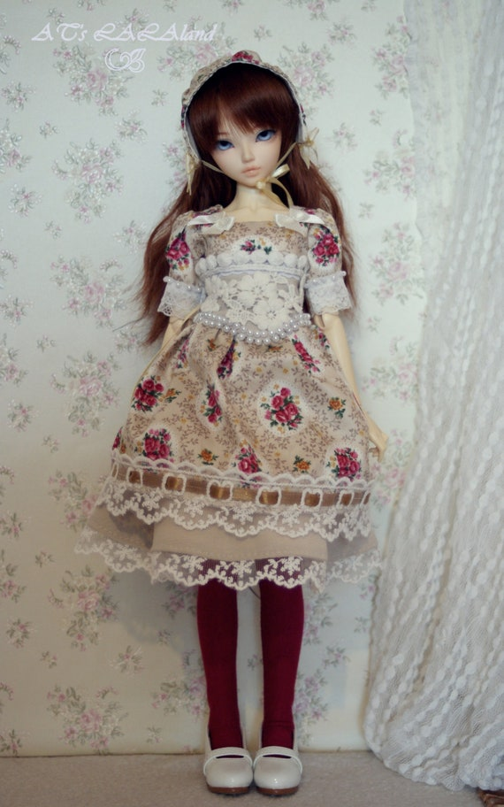 Flower Kiss, ooak dress set, MSD size, 1/4