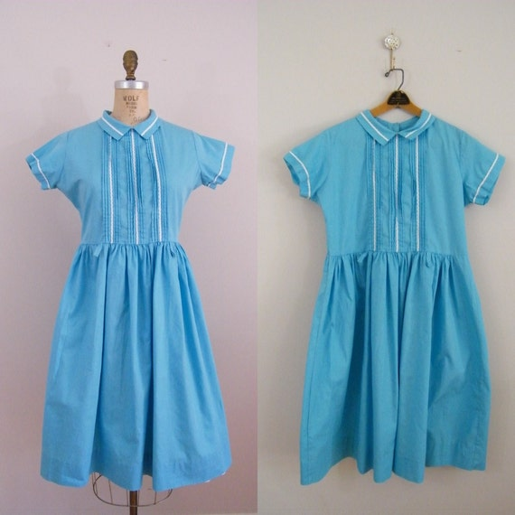 Vintage 1950s Blue Dress / Day Dress