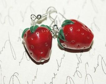 Glass Earrings Red Earrings Strawberry Earrings Red Glass Lampwork Earrings