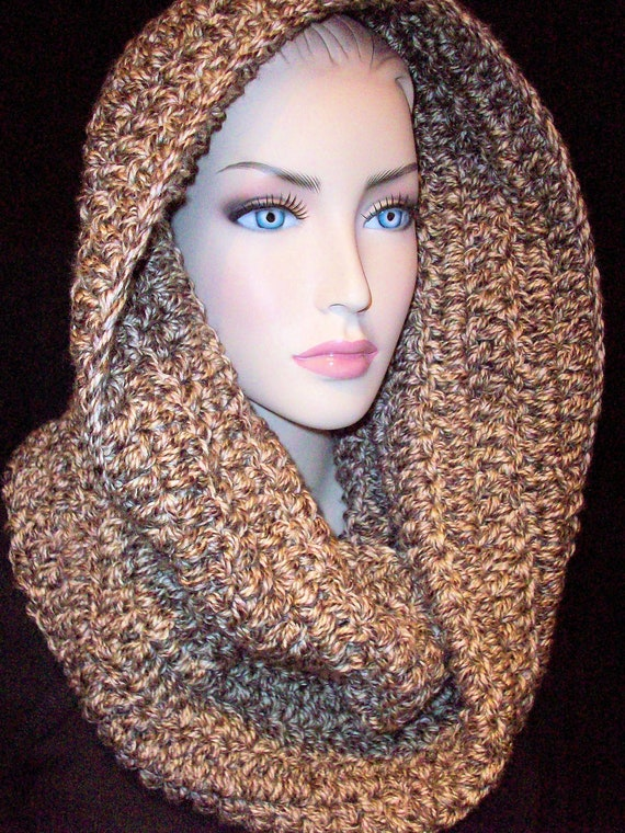 Chunky Infinity Scarf Crocheted Handmade Brown and Beige Multi ,over a pound of yarn Unisex