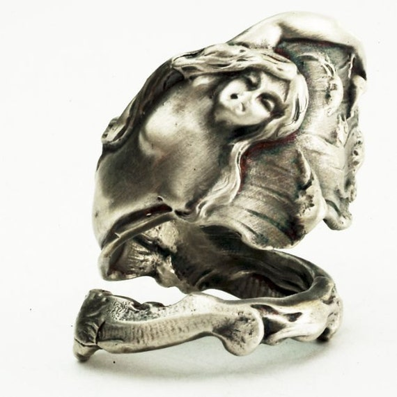 Spoon Ring of Art Nouveau Mermaid in Sterling Silver, Handcrafted in your size (2513)