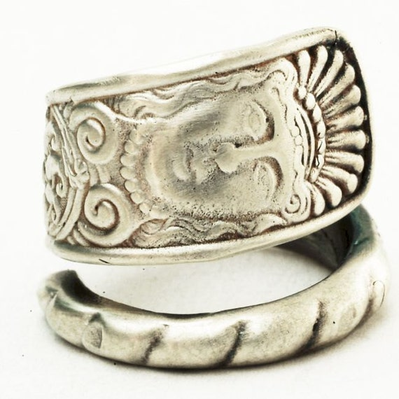 Assyrian Head Sterling Silver Spoon Ring, Handcrafted in your size (2817)