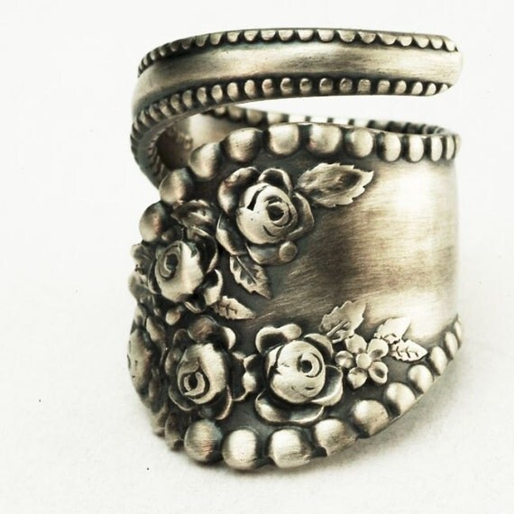 Spoon Ring Vintage Victorian Rose Sterling Silver Ring, Handmade in Your Size (2882)