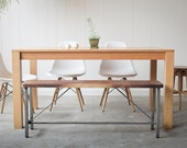 Solid Red Oak Parsons Dining Table - Customizable