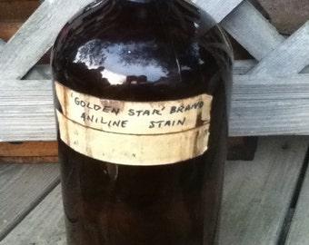 Vintage - Golden Star Brand: Aniline Stain Bottle-Painter's Use-Home Decor
