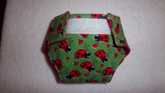 Baby doll diaper - green with ladybug
