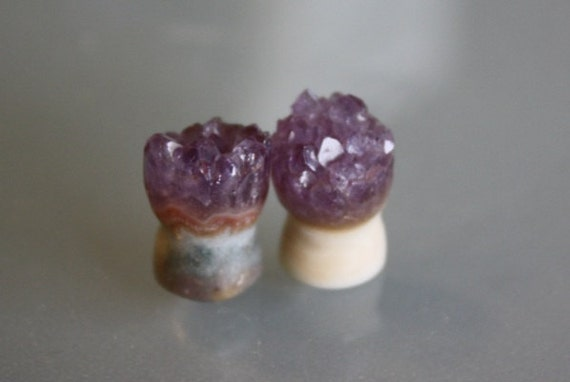 0g 8mm Amethyst Druzy Plugs