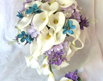 Calla lily wedding bouquet calla lily turquoise and lilac bridal bouquet calla lily bridal bouquet