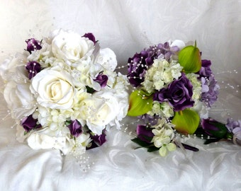 Rose bridal bouquet 4 piece set wedding bouquet white and purple rose green real touch calla lily hydrangea bridal flowers