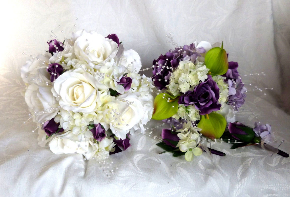 Rose Bridal Bouquet 4 Piece Set Wedding Bouquet White And