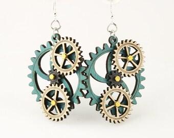Stylish Design  - Kinetic Wood Gear Earrings - #5005E
