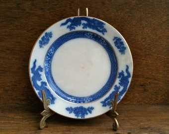 Vintage English Blue and White Dragon Side Plate circa 1930's / English Plate