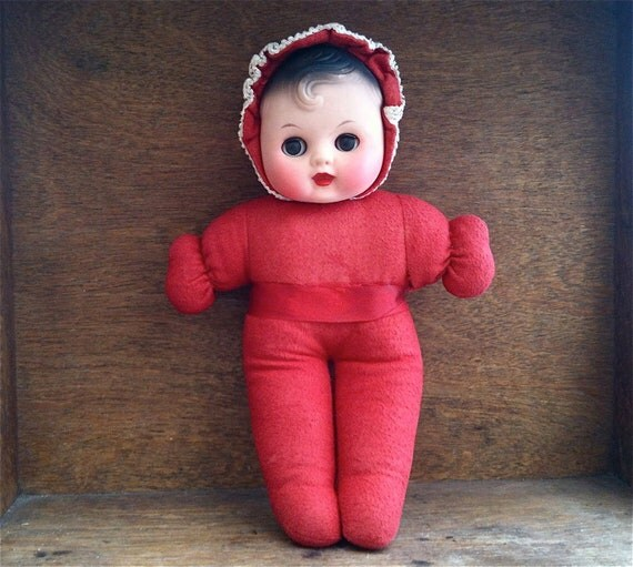 Vintage Baby Doll, with Red Fabric Body and Sleepy Eyes / English Shop