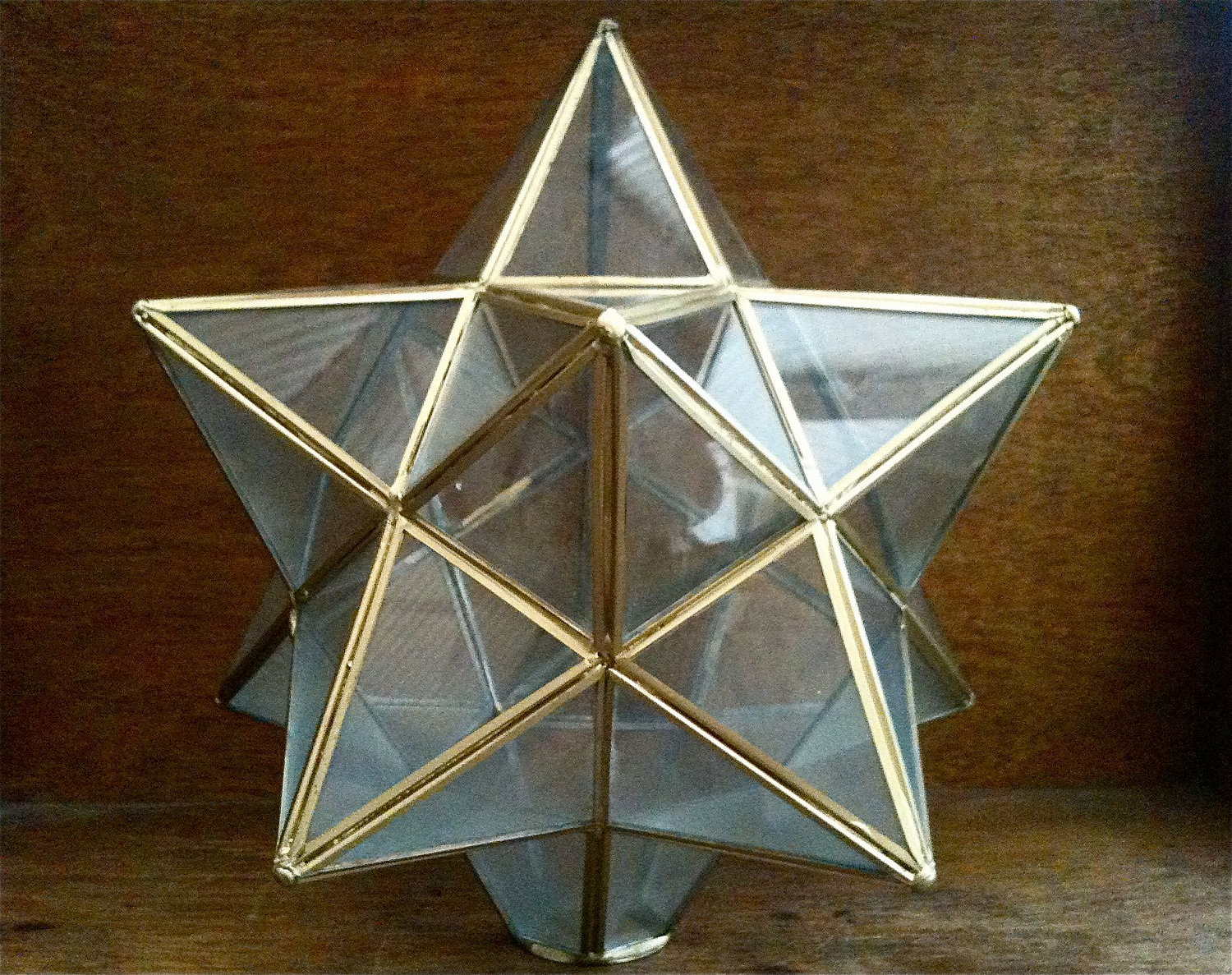 vintage glass star shape lamp shade in brass english shop. Black Bedroom Furniture Sets. Home Design Ideas
