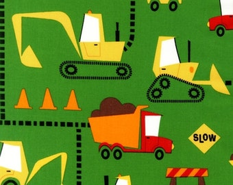 1 Yard Cone Zone Construction Trucks in Green by Caleb Gray  for Robert Kaufman