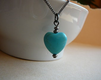 December birthstone - Turquoise gemstone heart necklace on gunmetal finished chain - Turquoise necklace - Free shipping to Canada & USA