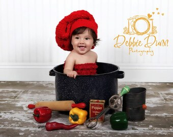 Crochet newborn chef hat, photo prop