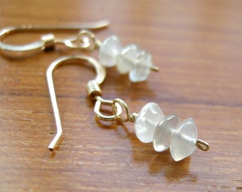 SALE Tiny Frosty White Moonstone Gold Fill Earrings / Warm Tone Cream Glow, Petite Minimalist Delicate Jewelry Chatoyance
