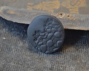 black round goth brooch pin - black vintage lace imprint brooch - minimal black brooch - gift for her