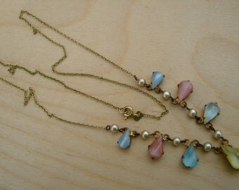 Vintage Necklace Pastel Moonglow Beads