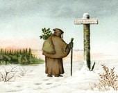 Santa Christmas Card - Santa Claus at Crossroads - Victorian Image