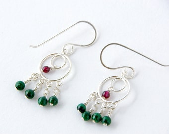 Christmas Green Malachite and Red Garnet Chandelier Earrings, Bohemian Boho Shabby Chic Earrings, Belly Dancing Tribal Fusion Jewelry