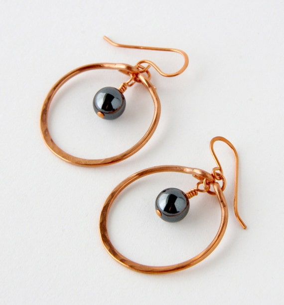 RESERVED: Hematite and Hammered Copper Hoop Earrings, Bohemian Gypsy Shabby Chic Hoop Earrings