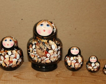 Black Babushka Nesting Doll  Matryoshka doll set of 5