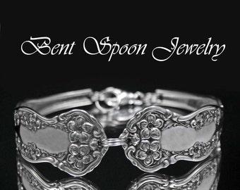 Wide Spoon Bracelet, Spoon Jewelry,  Antique Chester 1900, recycled Spoon Bracelet..Silverware Jewelry