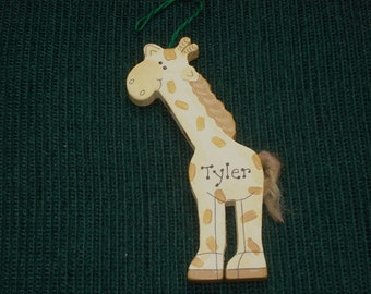 Personalized Wood Christmas Ornament - Giraffe